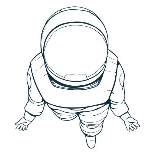 Top view astronaut drawn