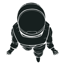 Top view astronaut silhouette