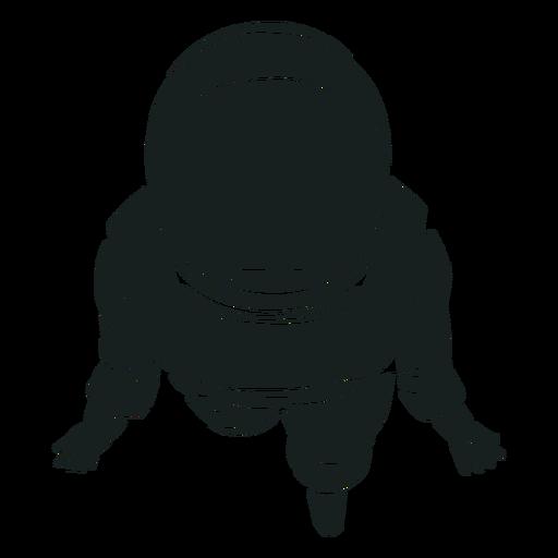 Silhueta de astronauta de vista superior