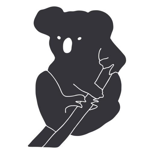 Tree koala sitting silhouette
