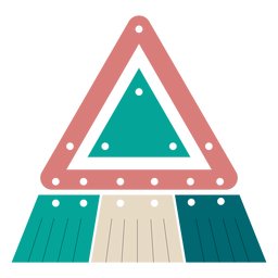 Brinco triângulo de couro com borlas