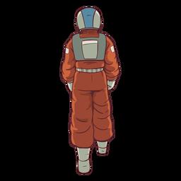 Caminhando atrás de astronauta colorido
