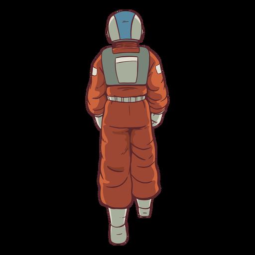 Caminando detrás de astronauta coloreado
