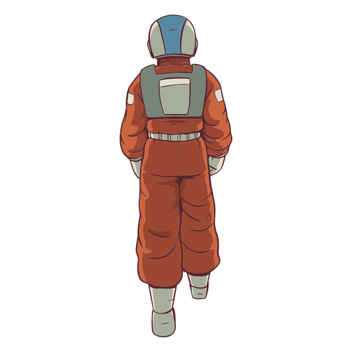 Walking behind astronaut colored