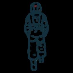 Caminhando atrás de astronauta desenhado