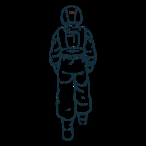 Walking behind astronaut drawn
