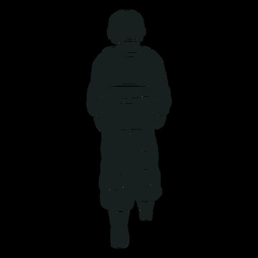Caminando detrás de la silueta del astronauta