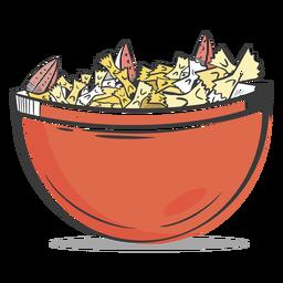 Bowl of farfalle pasta drawn