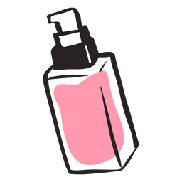 Mão de garrafa de beleza bonito desenhada