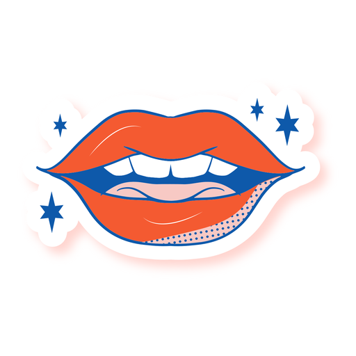Half opened mouth sticker