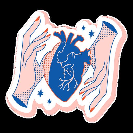 Hands surrounding heart sticker