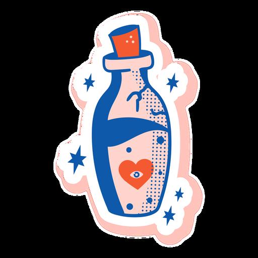 Etiqueta engomada de la botella del ojo del corazón