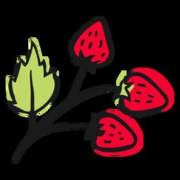 Folhas com morangos
