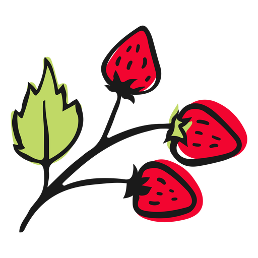 Leaves with strawberries