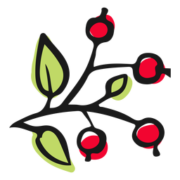 Pequeñas hojas de bayas rojas