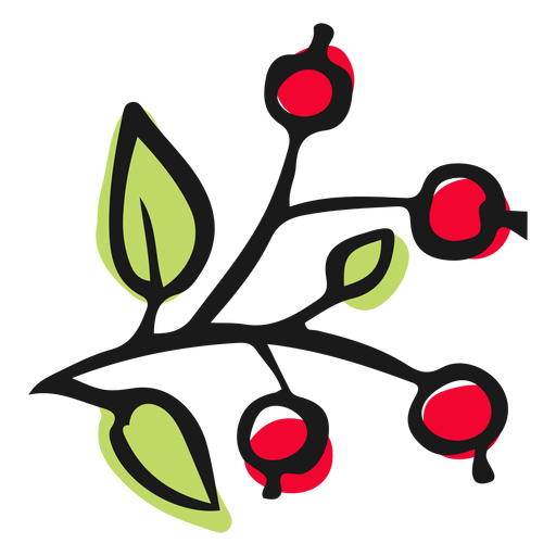 Little red berries leaves Transparent PNG