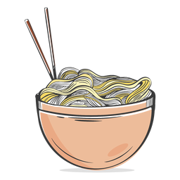 Pasta noodles bowl drawn