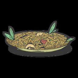 Plato de pasta twirly dibujado