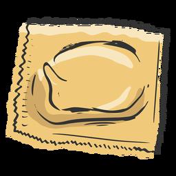 Ravioli pasta hand drawn