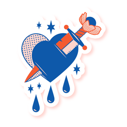 Struck heart sword sticker