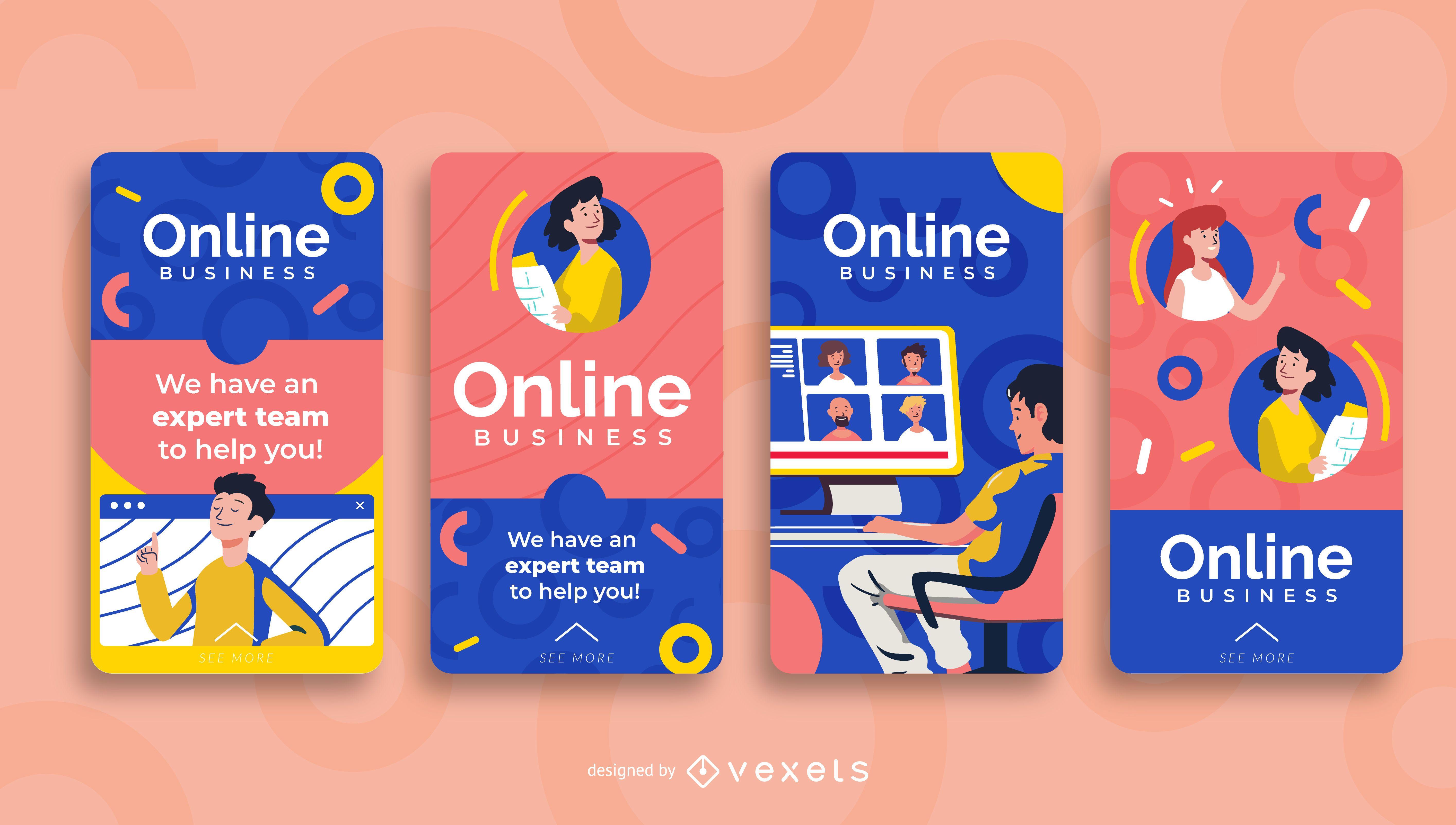 Conjunto de diseño de historias sociales de coaching en línea