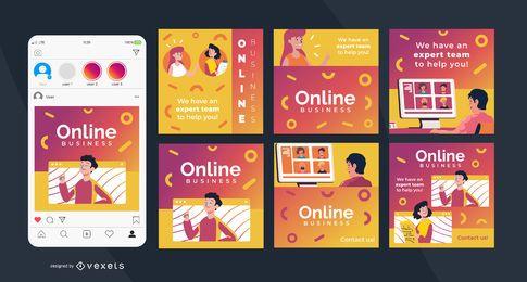 Praça de negócios on-line Social Post Set