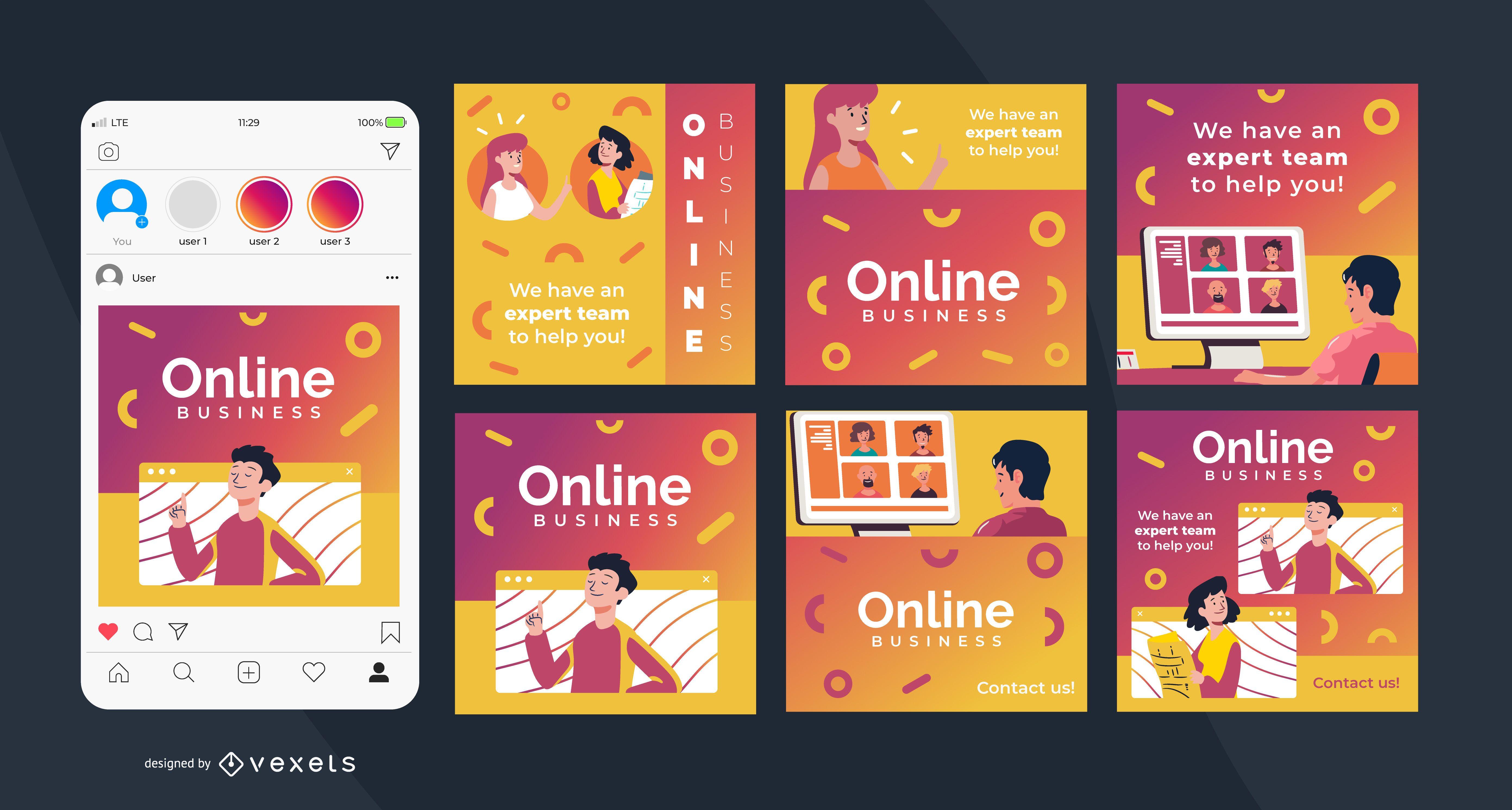 Online Business Square Social Post Set