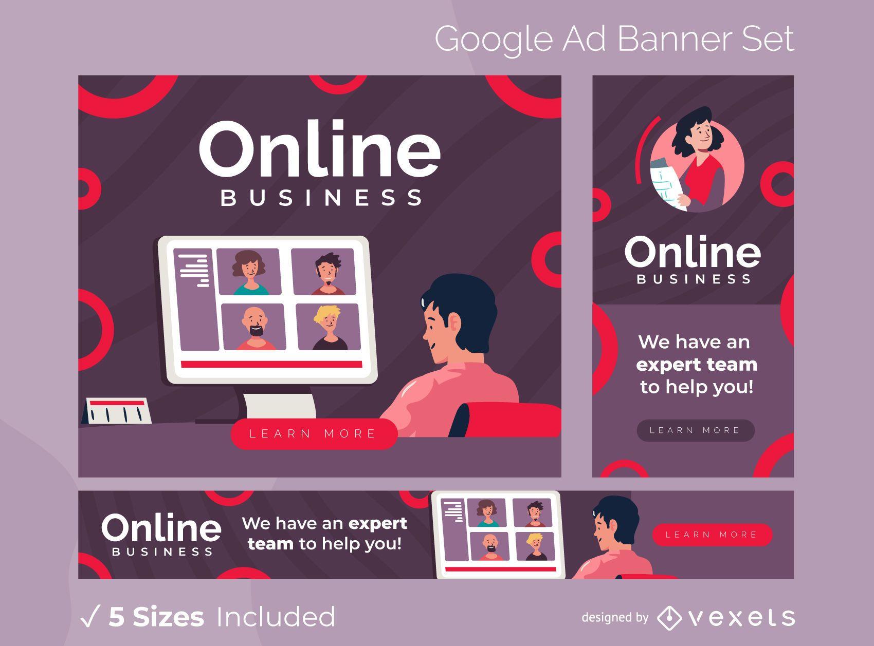 Pacote de banners do Google Ads para empresas online