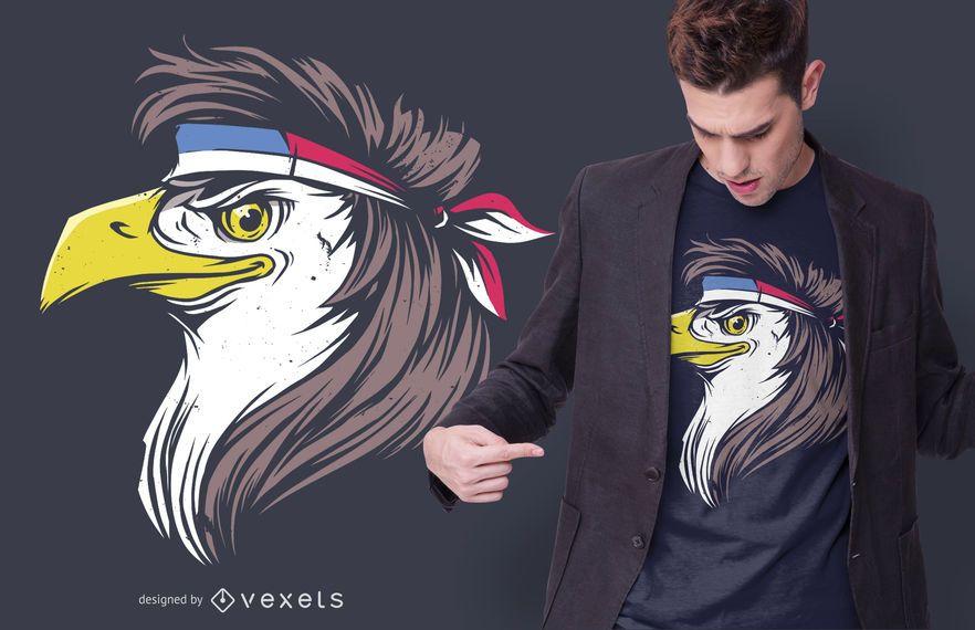 Diseño divertido de la camiseta de Eagle Mullet