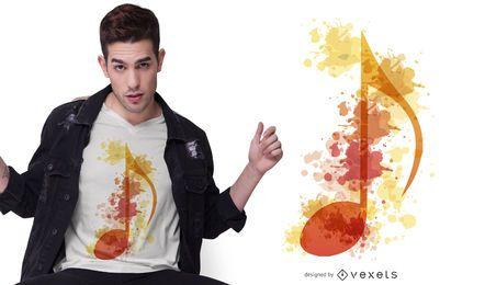 Diseño de camiseta de nota musical acuarela