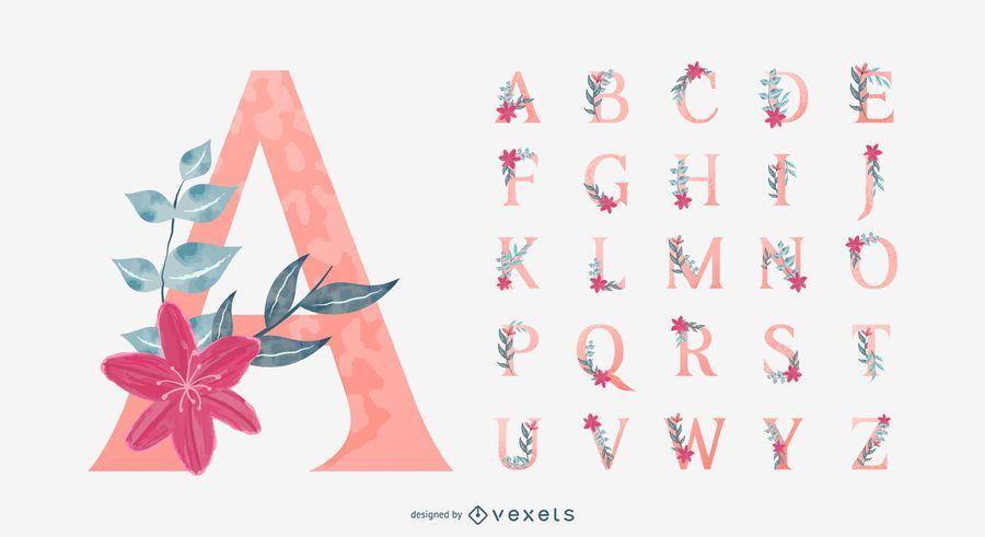 Paquete de diseño de alfabeto floral