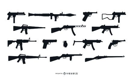 Conjunto de Design de silhueta de arma de fogo