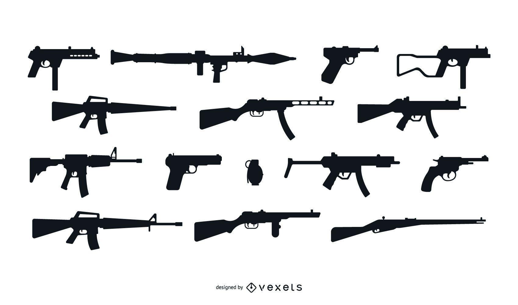 Conjunto de diseño de silueta de arma de fuego