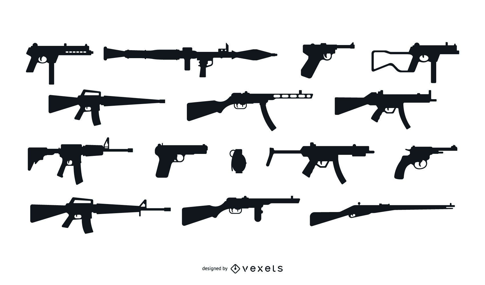 Firearm Silhouette Design Set