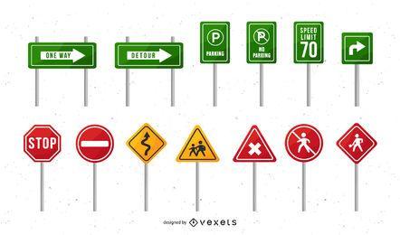 Pacote de design de sinais de trânsito