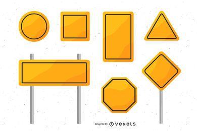 Pacote de sinais de trânsito em branco amarelo
