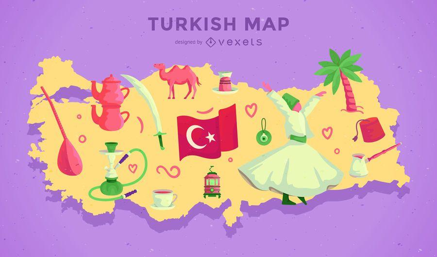 Diseño de ilustración de mapa de Turquía