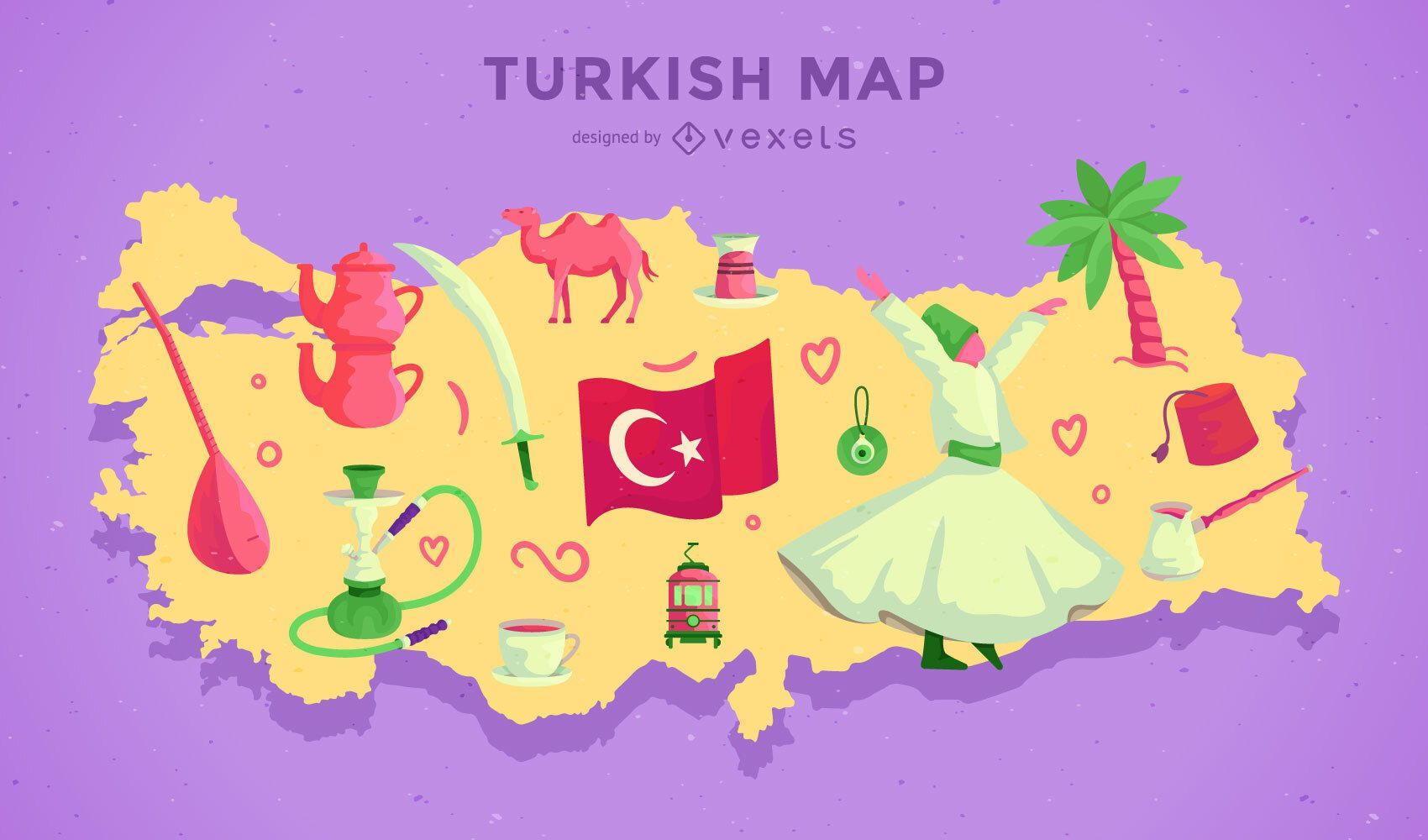 Turkey Map Illustration Design