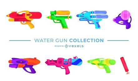 Pacote de design plano de pistola de água colorida