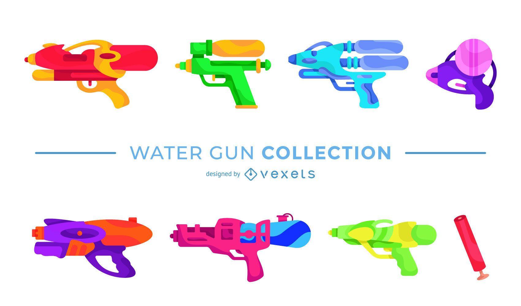 Paquete de diseño plano de pistola de agua colorida