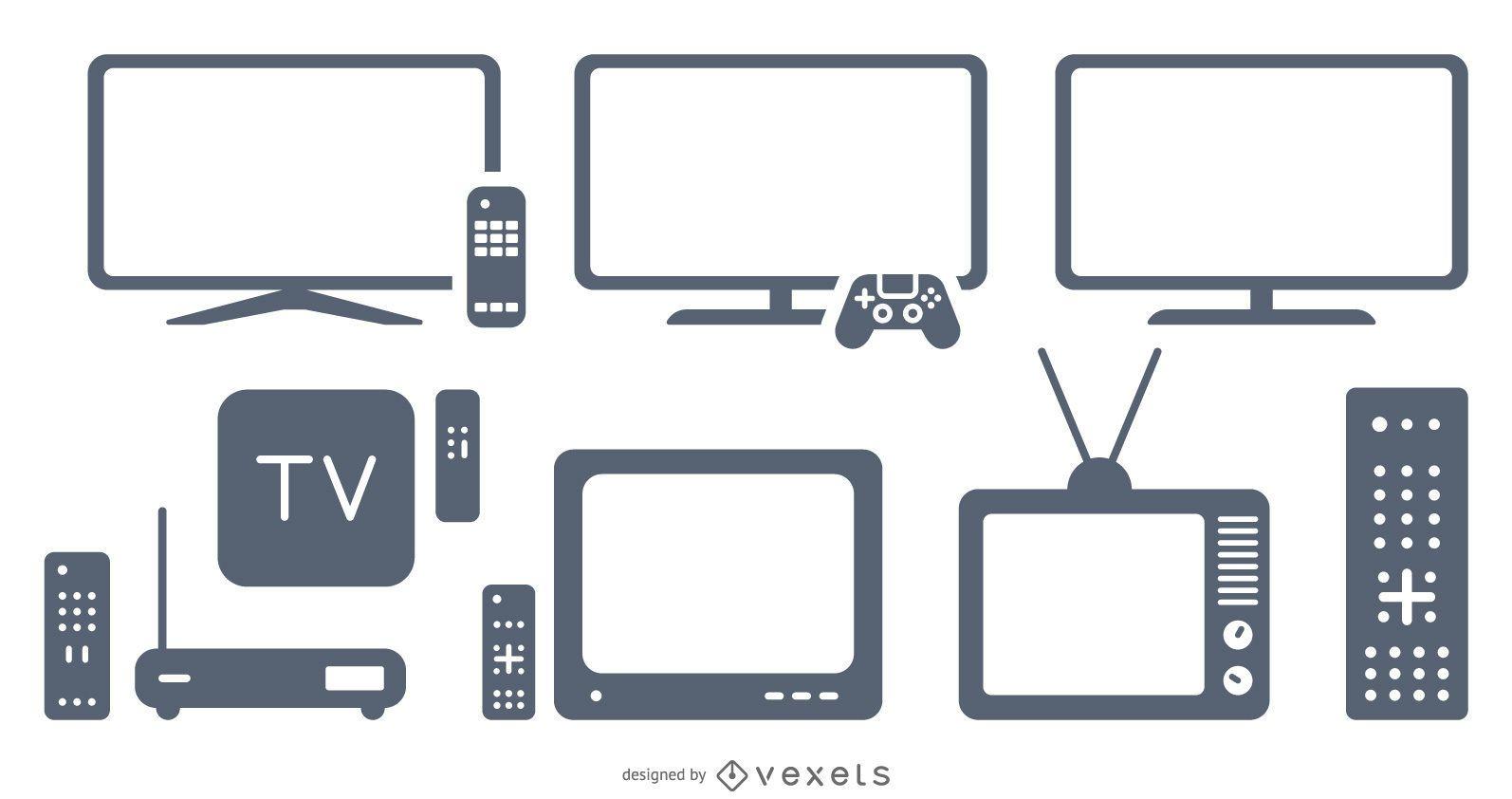 conjunto de elementos de televisão
