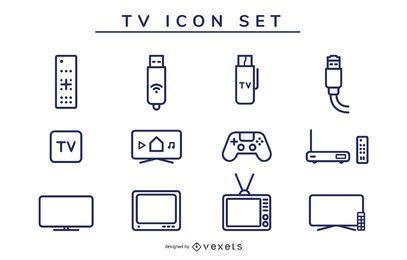 conjunto de traços de ícone de tv