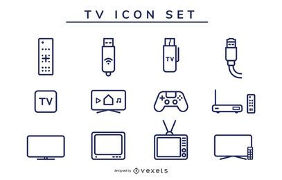 tv icon stroke set