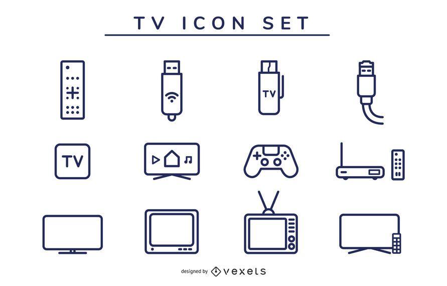 tv icon stroke set