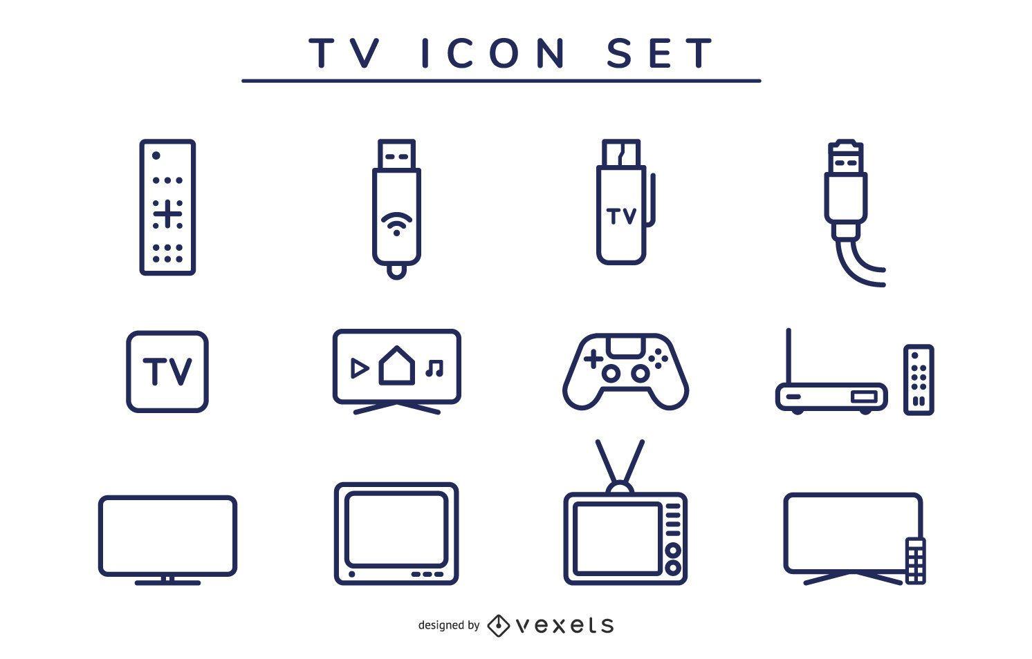 conjunto de trazos de icono de tv