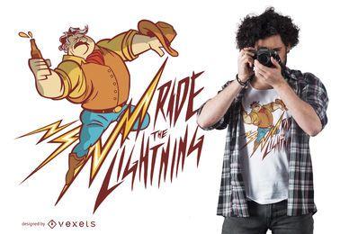 Diseño de camiseta Cowboy Lightning Quote