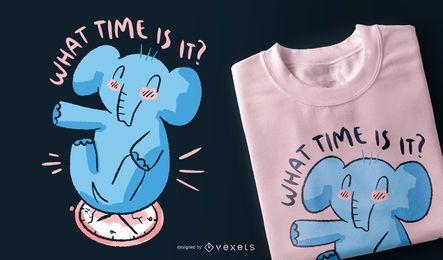 Diseño de camiseta de cita de reloj de elefante