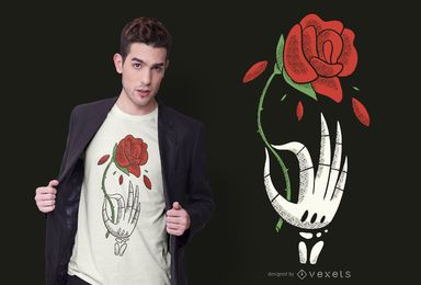 Diseño de camiseta Skeleton Hand Rose