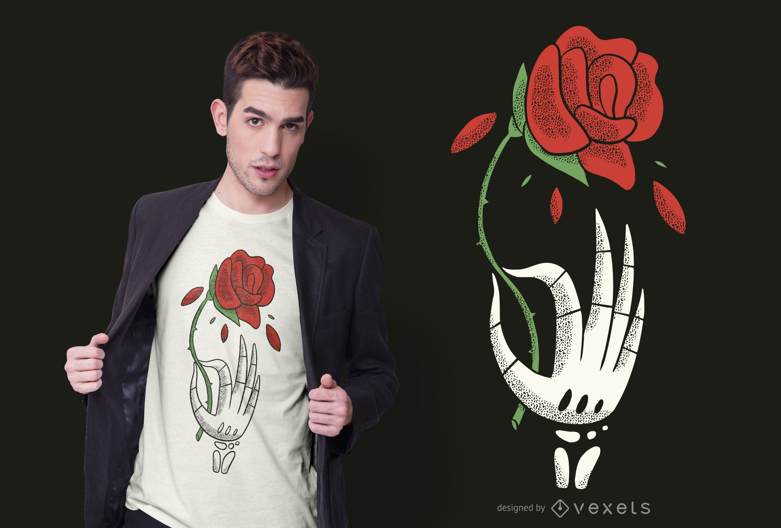 Skeleton Hand Rose T-shirt Design