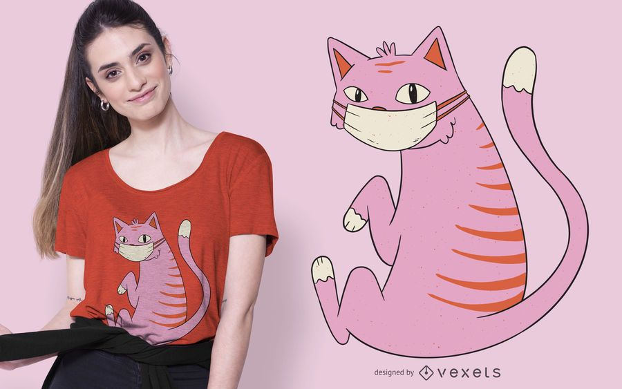 Design de t-shirt de gato de máscara facial